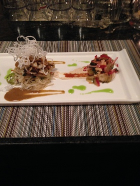 Calamari Pad Thai Shrimps and grape salad tofu puree