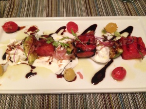 Grilled Watermelon, Figs, Proscuitto and Burrata Cheese