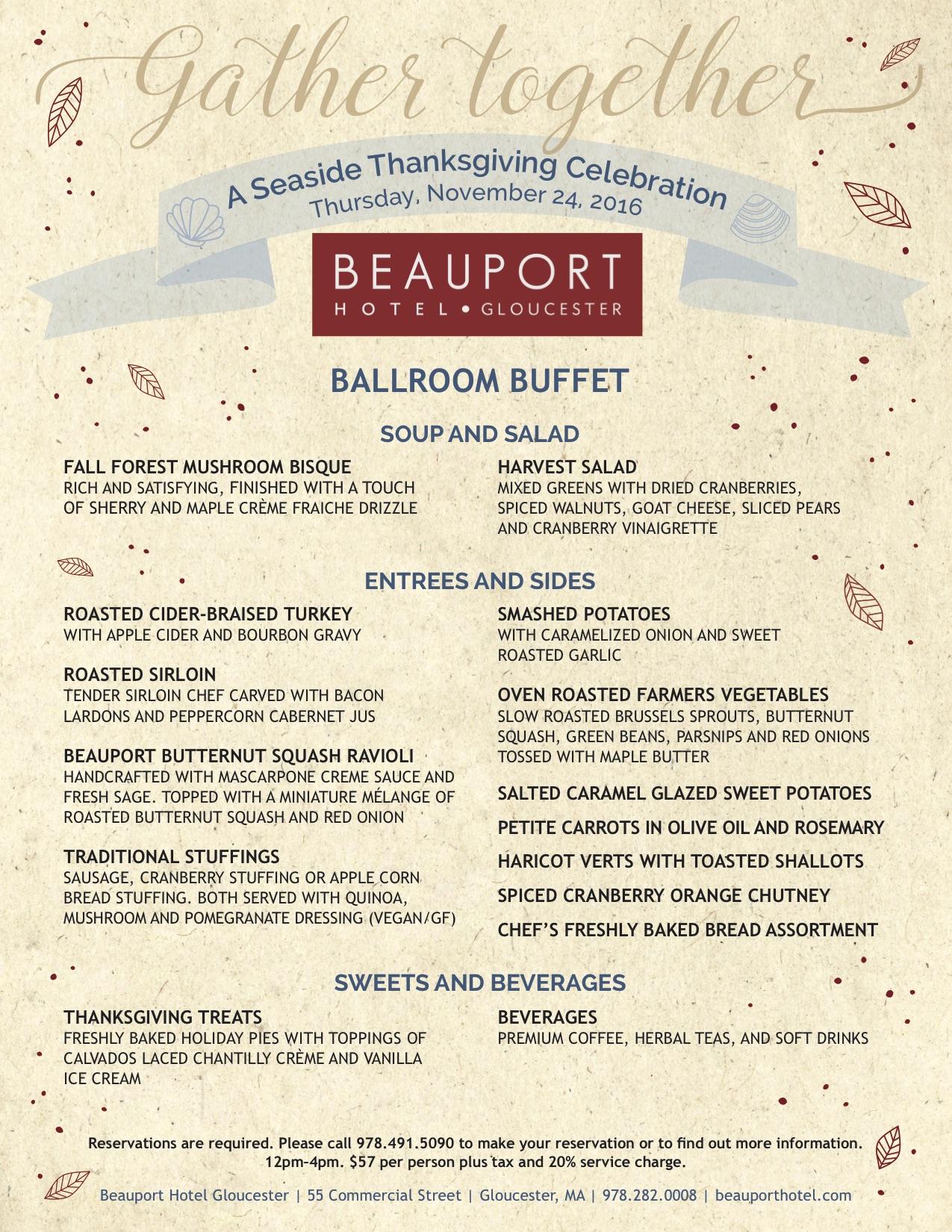 Beauport Hotel Thanksgiving Menus | capeanneats